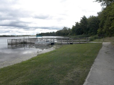 Panaramic view of fishing pier from parking area