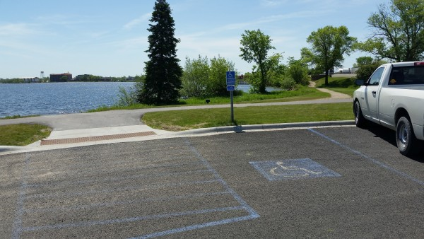 Parking area next to Paul Bunyan Statue serving fishing pier