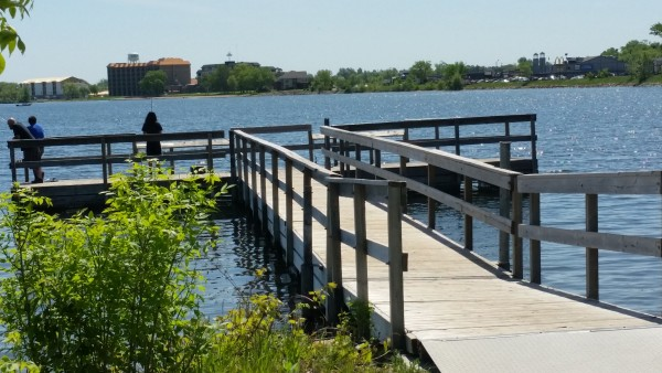 Parking area next to Paul Bunyan Statue serving fishing pier