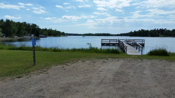 Looking across parking area to fishing pier